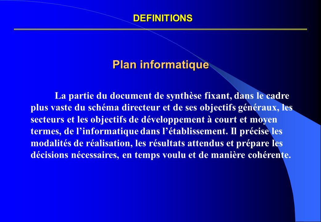 Plan informatique La partie du document de synthèse fixant, dans le cadre plus vaste du schéma directeur et de ses objectifs généraux, les secteurs et les objectifs de développement à court et moyen termes, de l'informatique dans l'établissement.