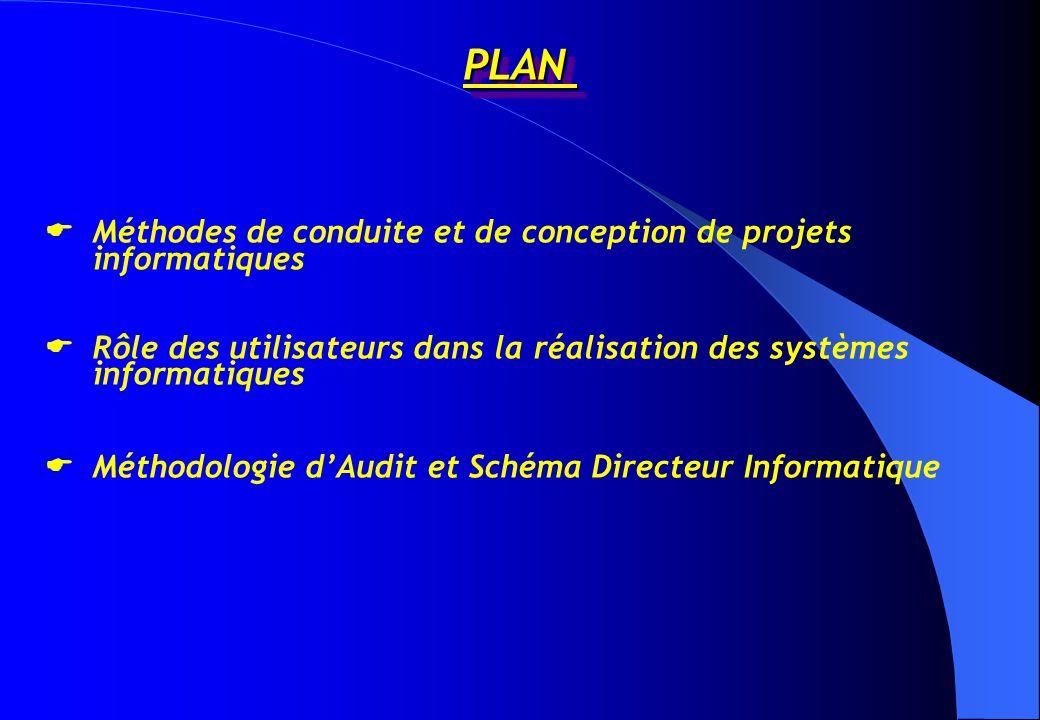 PLANPLAN  Méthodes de conduite et de conception de projets informatiques  Rôle des utilisateurs dans la réalisation des systèmes informatiques  Méthodologie d'Audit et Schéma Directeur Informatique