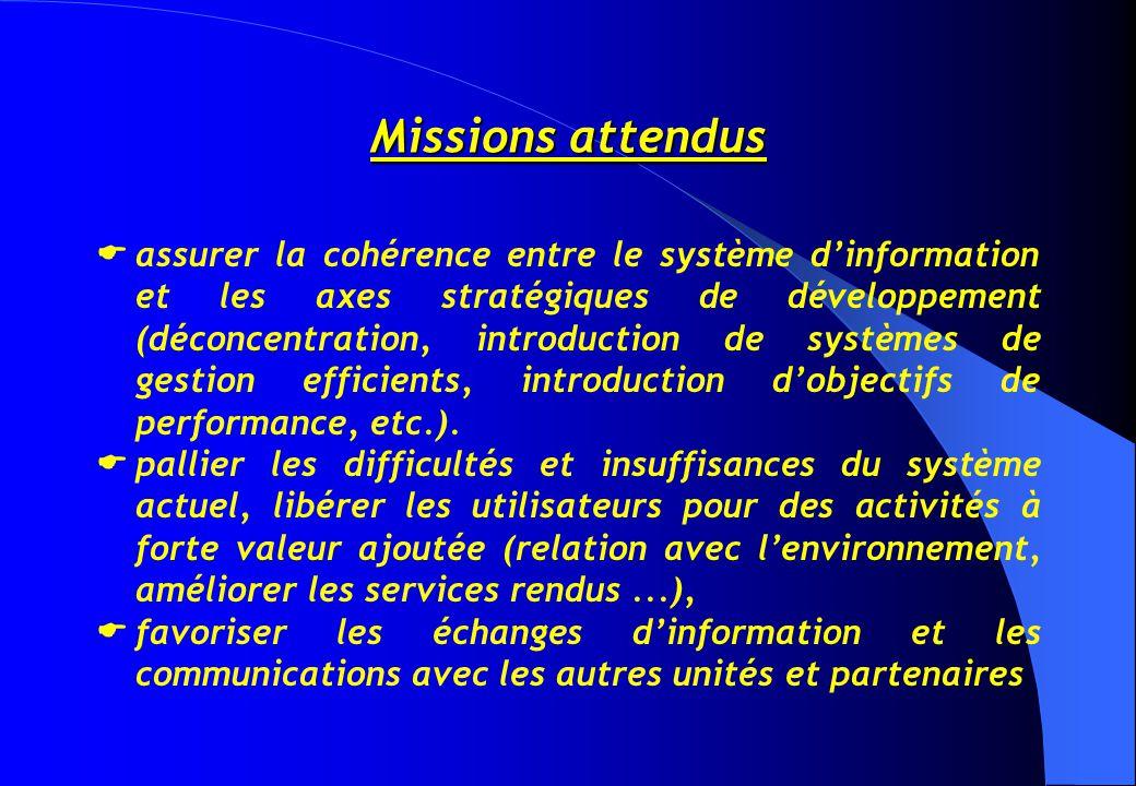 Missions attendus  assurer la cohérence entre le système d'information et les axes stratégiques de développement (déconcentration, introduction de systèmes de gestion efficients, introduction d'objectifs de performance, etc.).