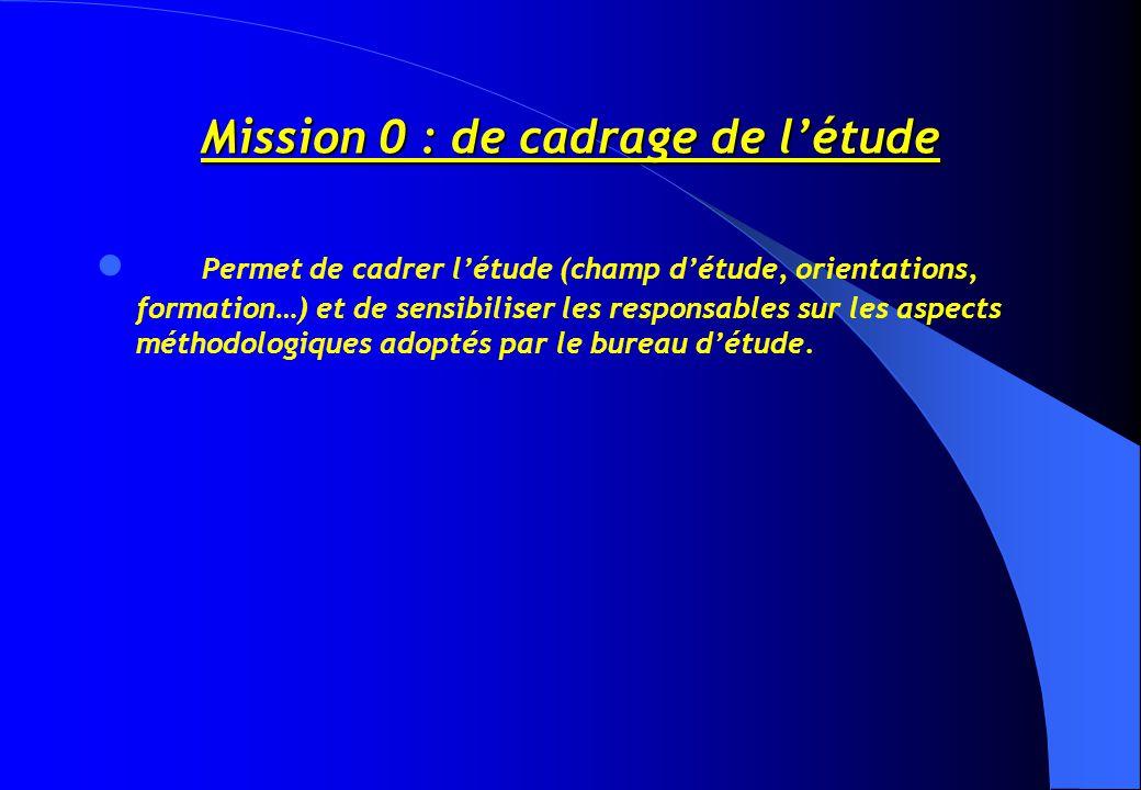 Mission 0 : de cadrage de l'étude Permet de cadrer l'étude (champ d'étude, orientations, formation…) et de sensibiliser les responsables sur les aspects méthodologiques adoptés par le bureau d'étude.