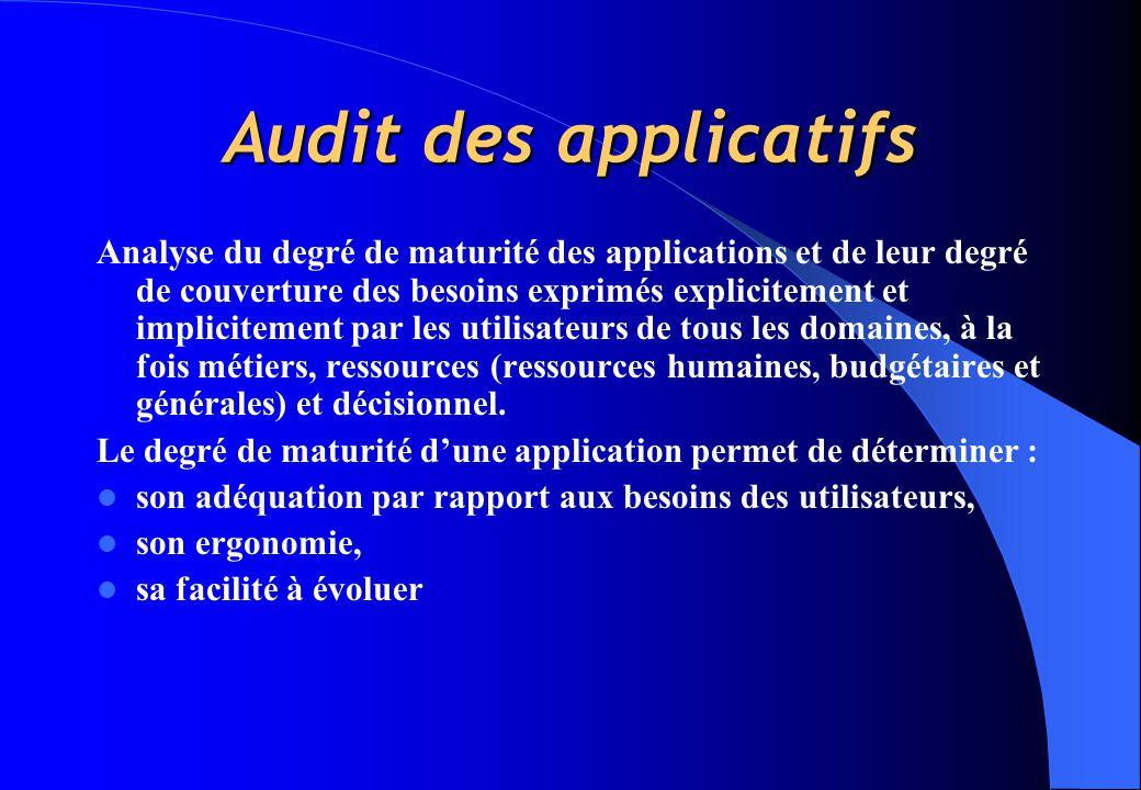 Audit des applicatifs Analyse du degré de maturité des applications et de leur degré de couverture des besoins exprimés explicitement et implicitement par les utilisateurs de tous les domaines, à la fois métiers, ressources (ressources humaines, budgétaires et générales) et décisionnel.