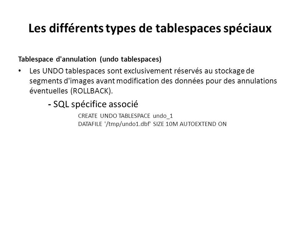 Tablespace – Syntaxe CREATE [UNDO] TABLESPACE tablespace_name DATAFILE Datafile_Options Storage_Options ; UNDO : permet de créer un tablespace UNDO réservé exclusivement à l annulation des commandes LMD ( Un ROLLBACK permet de revenir en arrière alors que le COMMIT supprimera les lignes du tablespace UNDO ) Datafile_Options: filename [size] K|M [AUTOEXTEND ON|OFF [NEXT int K | M] [MAXSIZE int K | M]] La taille maximale sera illimitée si vous n'avez pas mentionné la taille maximale Storage_Options: LOGGING | NOLOGGING : définit le mode de journalisation par défaut des segments qui seront stockés dans le tablespace et pour lesquels aucun mode de journalisation n'a été défini.