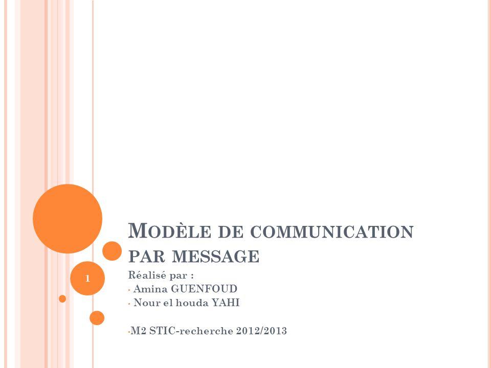 M ODÈLE DE COMMUNICATION PAR MESSAGE Réalisé par : Amina GUENFOUD Nour el houda YAHI M2 STIC-recherche 2012/2013 1