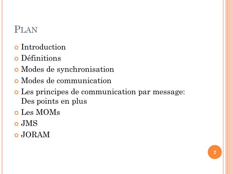 P LAN Introduction Définitions Modes de synchronisation Modes de communication Les principes de communication par message: Des points en plus Les MOMs