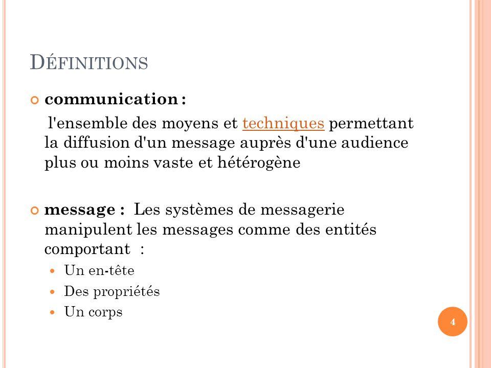 D ÉFINITIONS communication : l'ensemble des moyens et techniques permettant la diffusion d'un message auprès d'une audience plus ou moins vaste et hét
