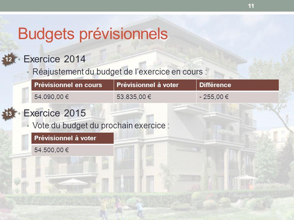 Budgets prévisionnels Exercice 2014 Réajustement du budget de l'exercice en cours : Exercice 2015 Vote du budget du prochain exercice : 11 12 13 Prévi