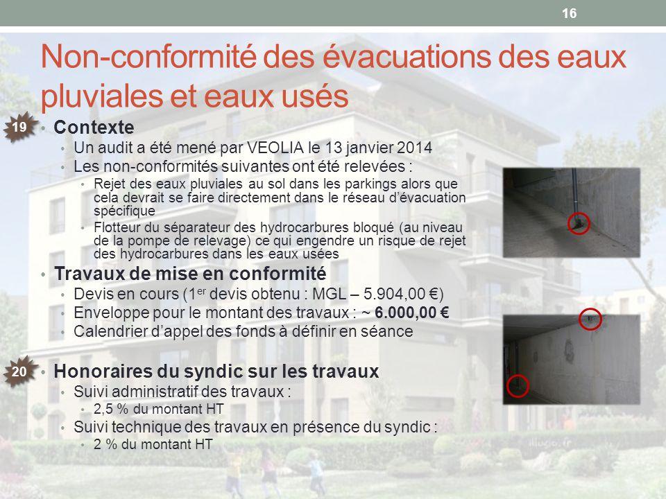 Non-conformité des évacuations des eaux pluviales et eaux usés Contexte Un audit a été mené par VEOLIA le 13 janvier 2014 Les non-conformités suivante