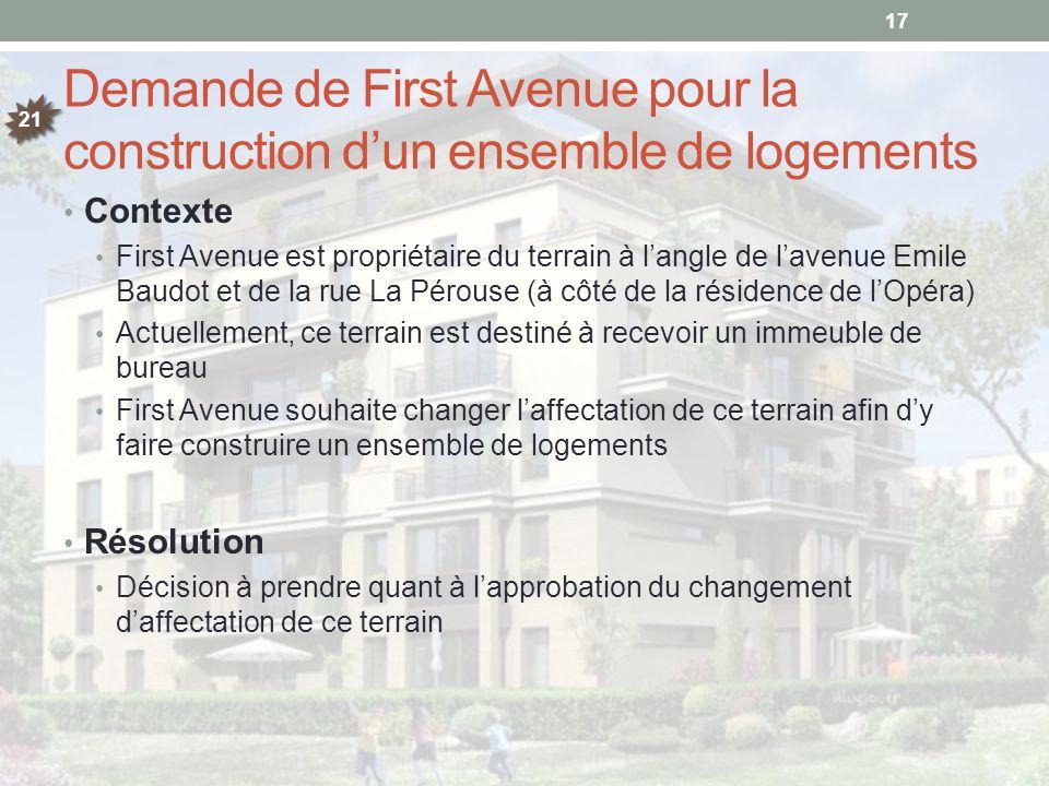 Demande de First Avenue pour la construction d'un ensemble de logements Contexte First Avenue est propriétaire du terrain à l'angle de l'avenue Emile