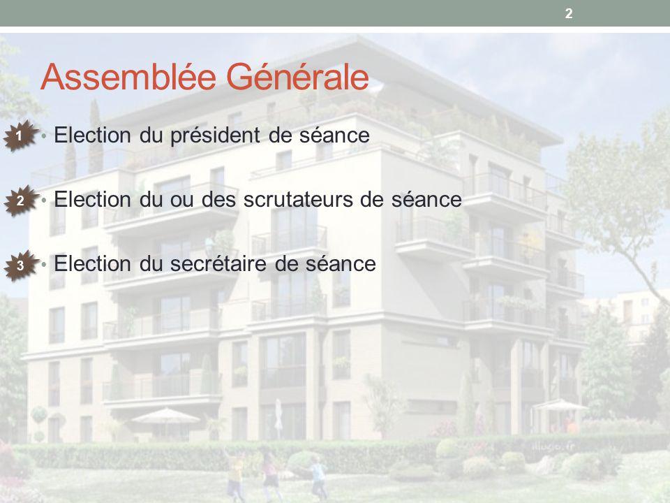 Assemblée Générale Election du président de séance Election du ou des scrutateurs de séance Election du secrétaire de séance 2 1 1 2 2 3 3