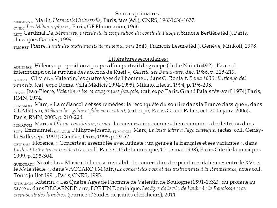 Sources primaires : MERSENNE Marin, Harmonie Universelle, Paris, facs (éd.), CNRS, 19631636-1637.