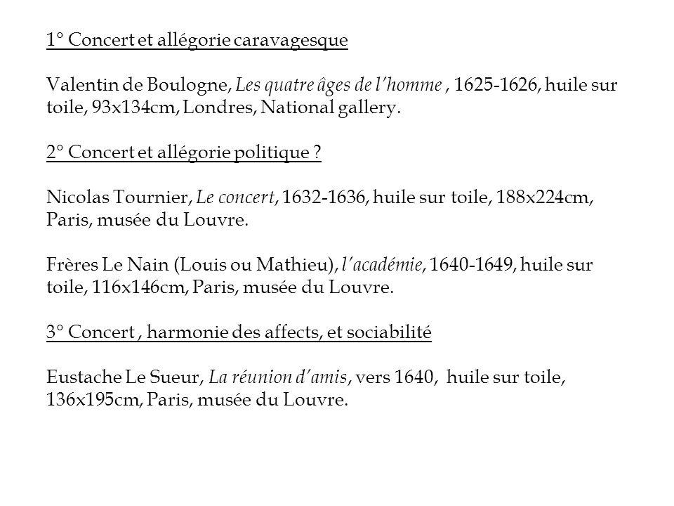 1° Concert et allégorie caravagesque Valentin de Boulogne, Les quatre âges de l'homme, 1625-1626, huile sur toile, 93x134cm, Londres, National gallery.