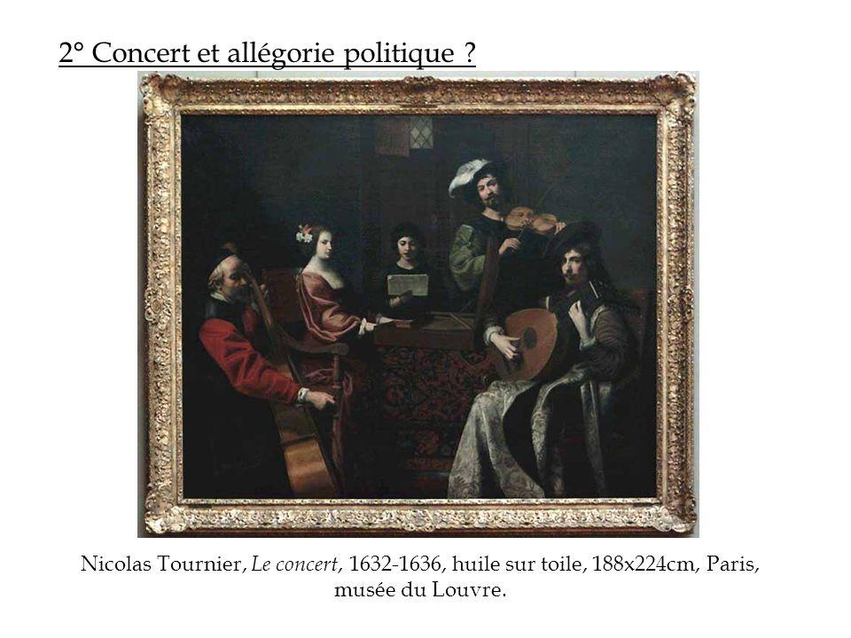 2° Concert et allégorie politique ? Nicolas Tournier, Le concert, 1632-1636, huile sur toile, 188x224cm, Paris, musée du Louvre.