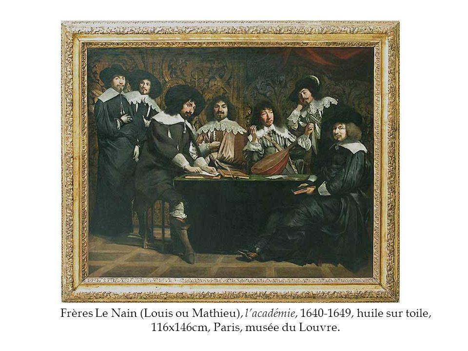 Frères Le Nain (Louis ou Mathieu), l'académie, 1640-1649, huile sur toile, 116x146cm, Paris, musée du Louvre.
