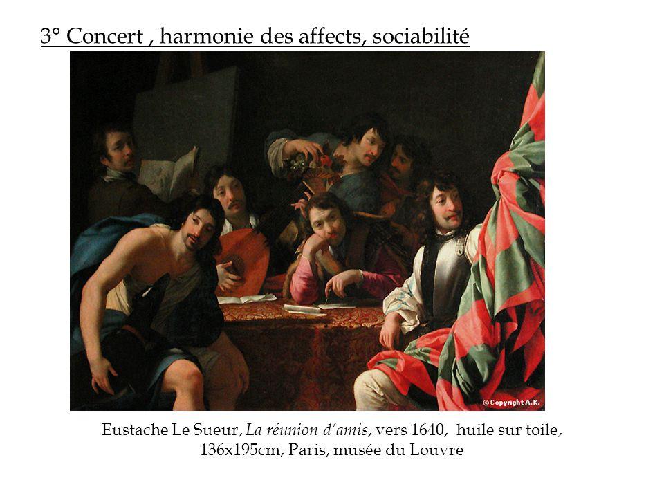 3° Concert, harmonie des affects, sociabilité Eustache Le Sueur, La réunion d'amis, vers 1640, huile sur toile, 136x195cm, Paris, musée du Louvre