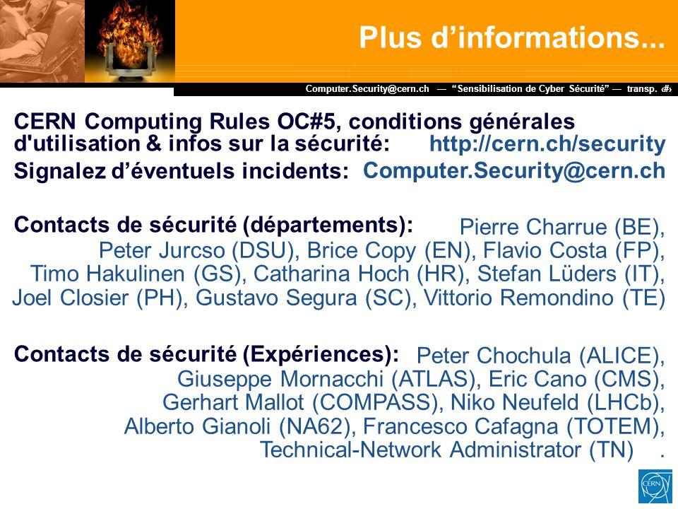 """Dr. Stefan Lüders (CERN IT/CO) ― DESY ― 20. Februar 2007 Computer.Security@cern.ch — """"Sensibilisation de Cyber Sécurité"""" — transp. 15 http://cern.ch/s"""