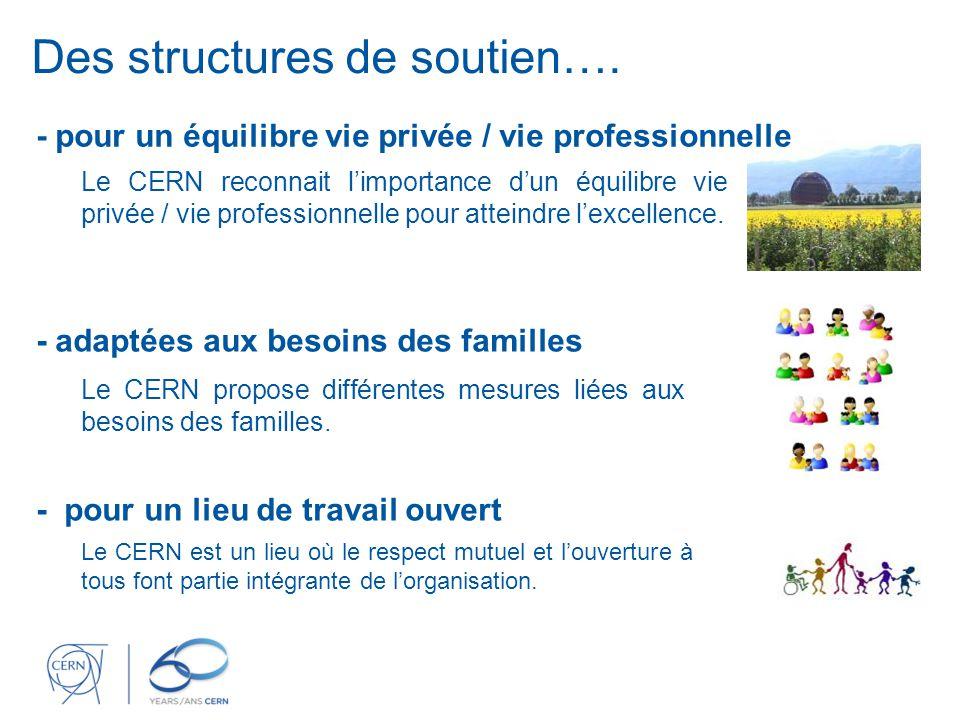 Des structures de soutien…. Le CERN propose différentes mesures liées aux besoins des familles.