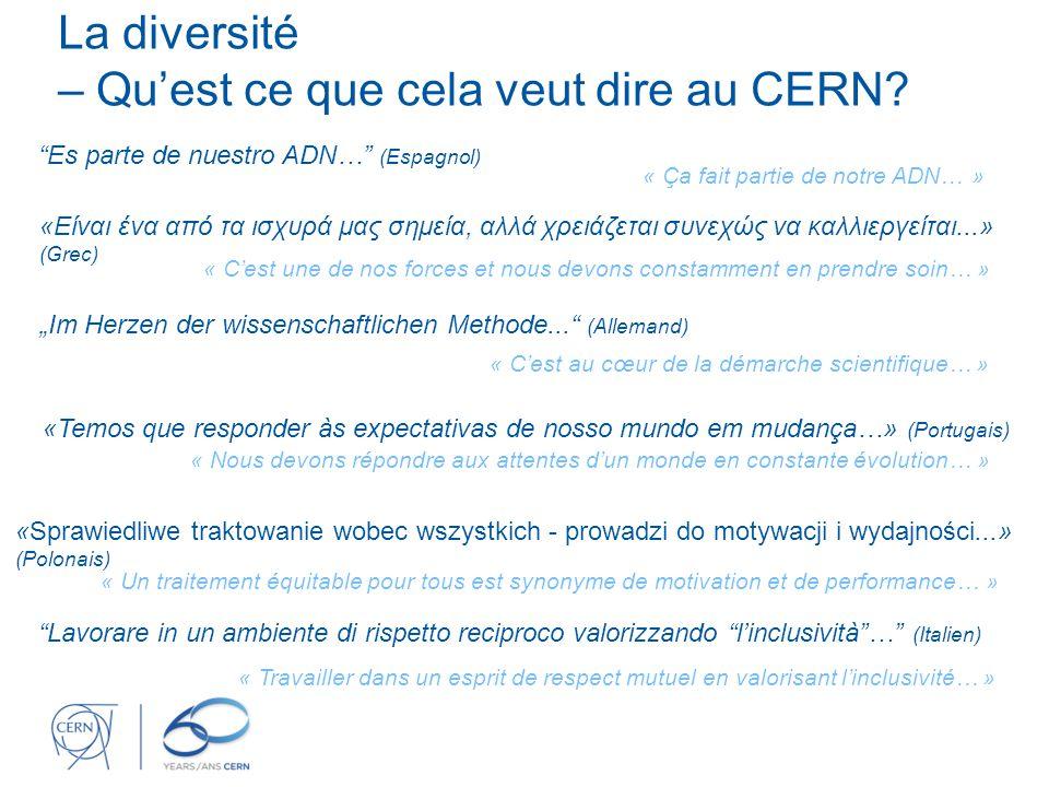Les valeurs du CERN 2 Diversité Apprécier les différences Promouvoir l'égalité Favoriser la collaboration Intégrité Engagement Professionnalisme Créativité