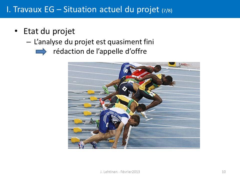 10 I. Travaux EG – Situation actuel du projet (7/8) Etat du projet – L'analyse du projet est quasiment fini rédaction de l'appelle d'offre J. Lehtinen