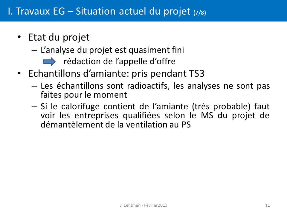 11 I. Travaux EG – Situation actuel du projet (7/8) Etat du projet – L'analyse du projet est quasiment fini rédaction de l'appelle d'offre Echantillon