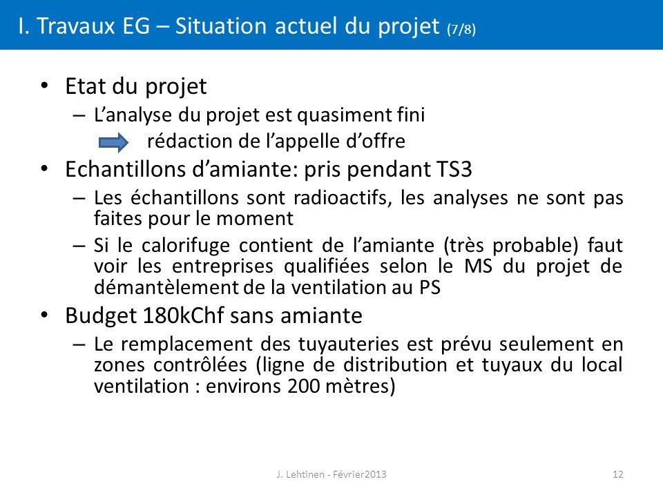 12 I. Travaux EG – Situation actuel du projet (7/8) Etat du projet – L'analyse du projet est quasiment fini rédaction de l'appelle d'offre Echantillon