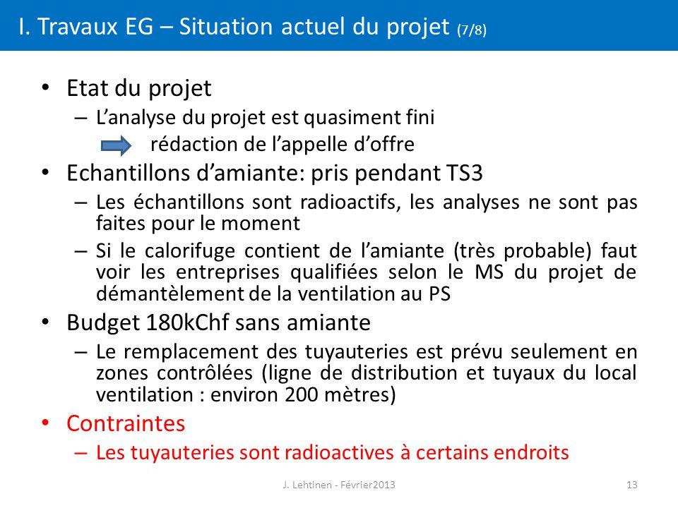 13 I. Travaux EG – Situation actuel du projet (7/8) Etat du projet – L'analyse du projet est quasiment fini rédaction de l'appelle d'offre Echantillon
