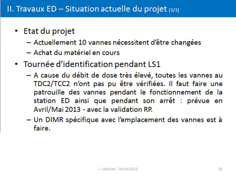 18 II. Travaux ED – Situation actuelle du projet (3/3) J. Lehtinen - Février2013