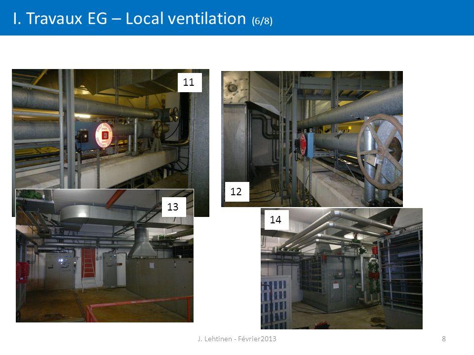 8 I. Travaux EG – Local ventilation (6/8) 11 12 13 14 J. Lehtinen - Février2013