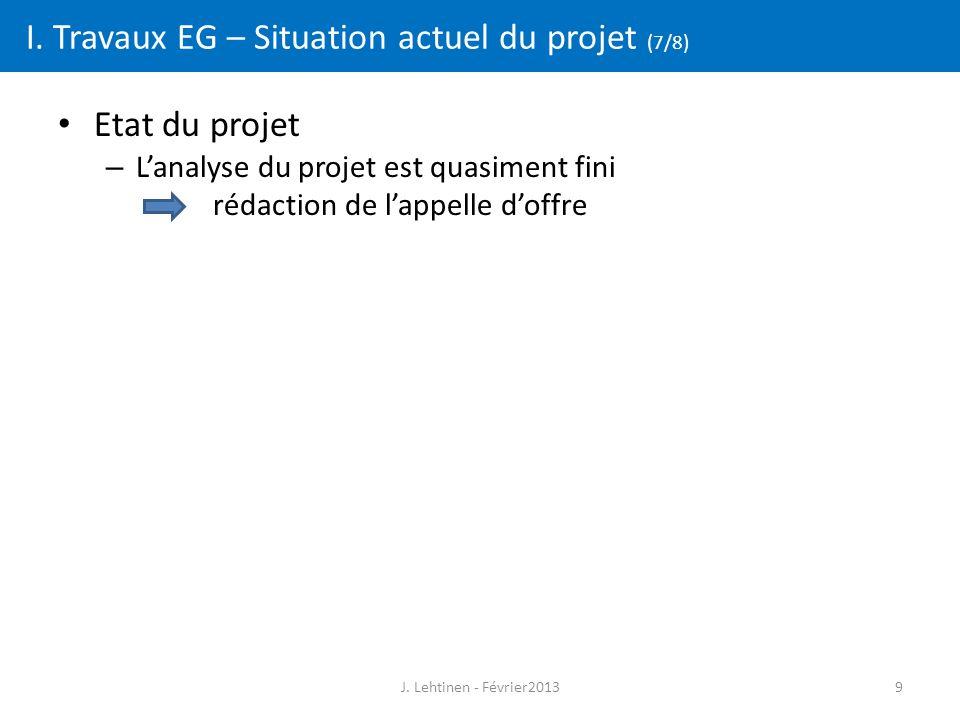 9 I. Travaux EG – Situation actuel du projet (7/8) Etat du projet – L'analyse du projet est quasiment fini rédaction de l'appelle d'offre J. Lehtinen