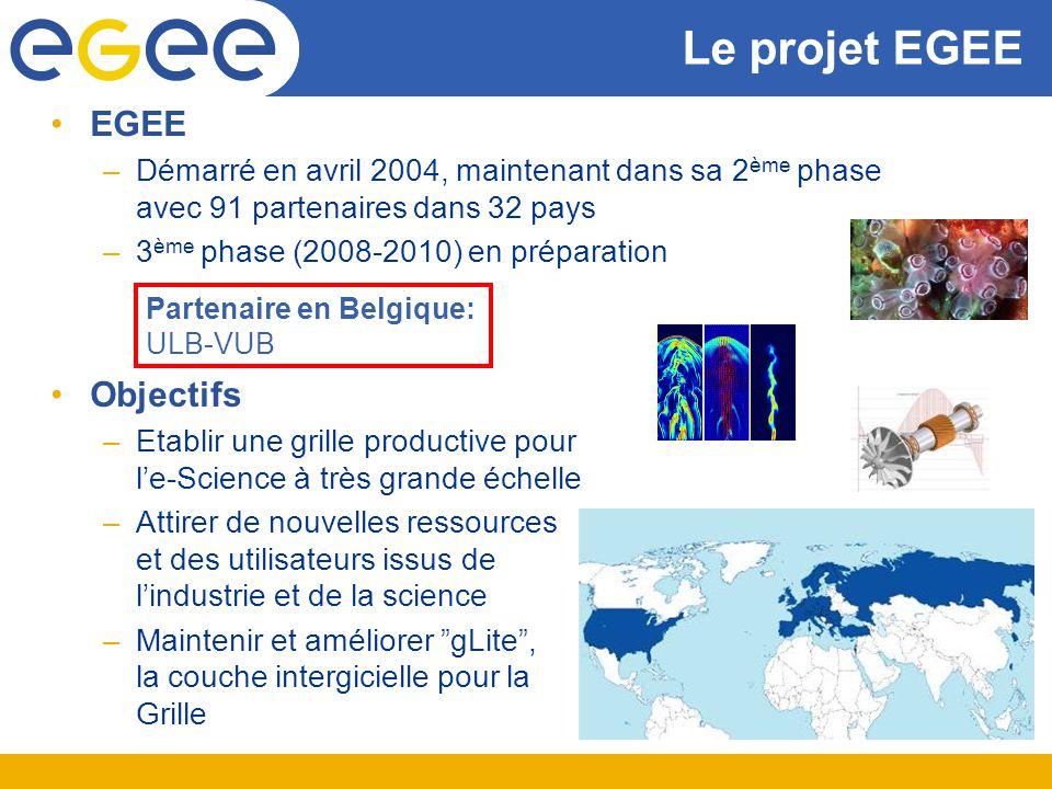Le projet EGEE EGEE –Démarré en avril 2004, maintenant dans sa 2 ème phase avec 91 partenaires dans 32 pays –3 ème phase (2008-2010) en préparation Ob
