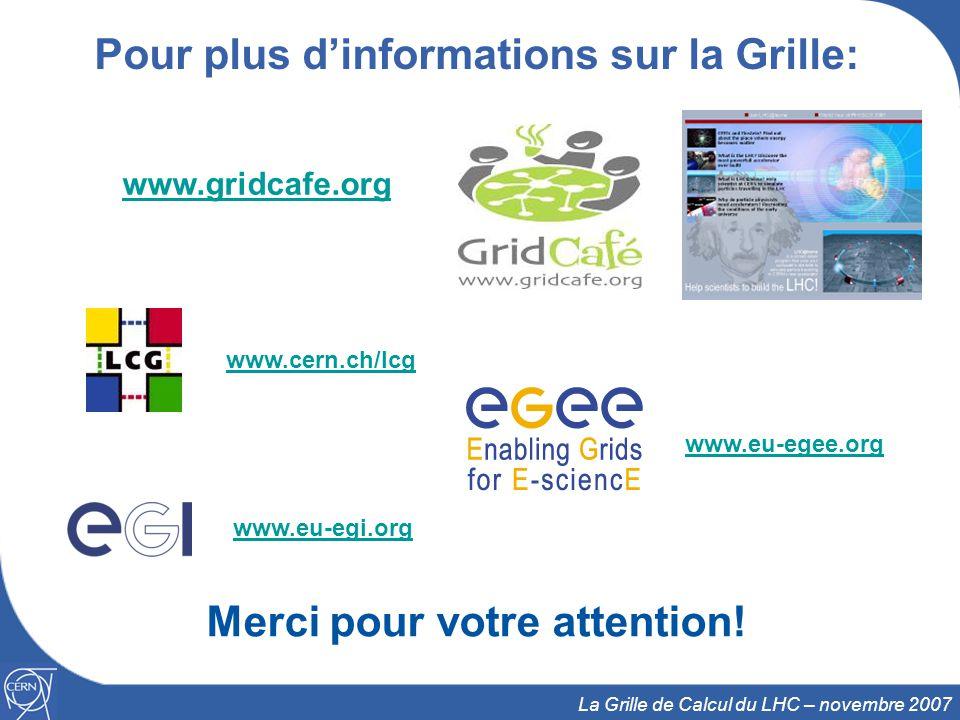 23 La Grille de Calcul du LHC – novembre 2007 Pour plus d'informations sur la Grille: Merci pour votre attention! www.cern.ch/lcg www.eu-egee.org www.