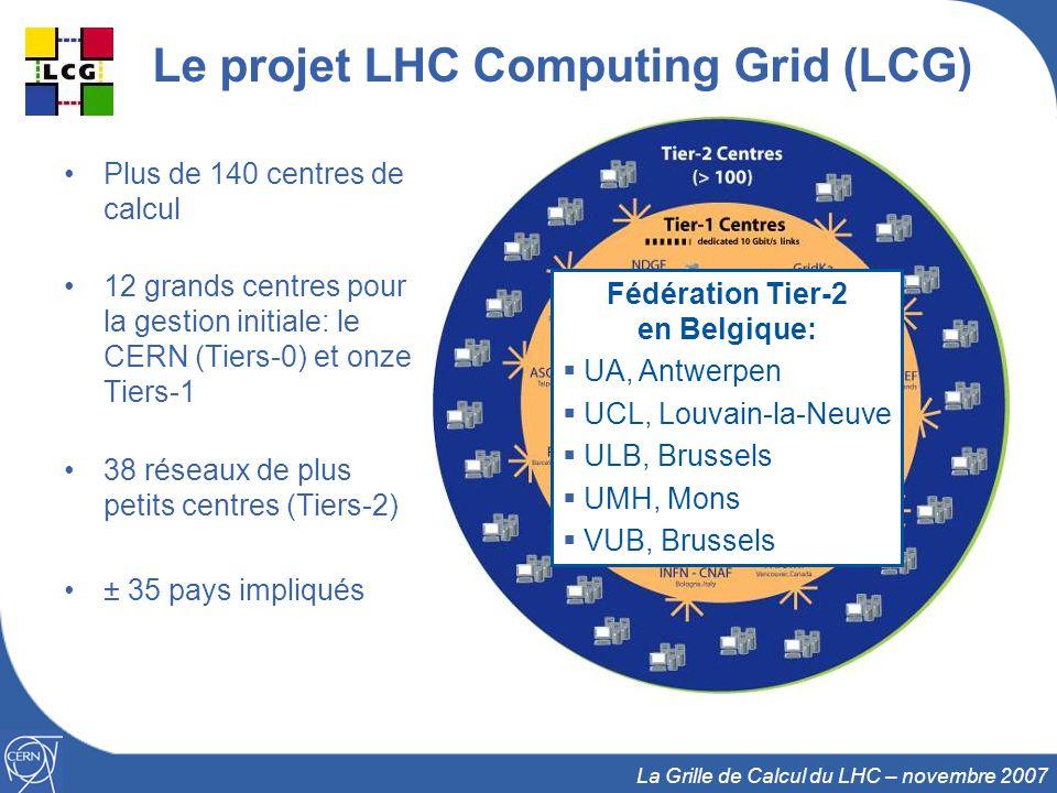 9 Le projet LHC Computing Grid (LCG) Plus de 140 centres de calcul 12 grands centres pour la gestion initiale: le CERN (Tiers-0) et onze Tiers-1 38 ré