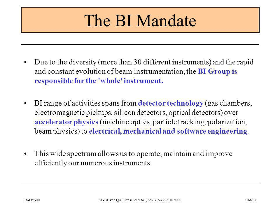16-Oct-00SL-BI and QAP Presented to QAWG on 23/10/2000Slide 3 The BI Mandate Due to the diversity (more than 30 different instruments) and the rapid and constant evolution of beam instrumentation, the BI Group is responsible for the whole instrument.