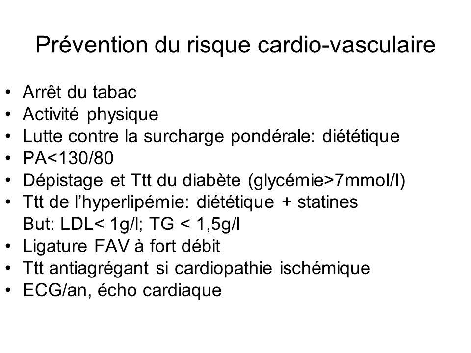 Prévention du risque cardio-vasculaire Arrêt du tabac Activité physique Lutte contre la surcharge pondérale: diététique PA<130/80 Dépistage et Ttt du