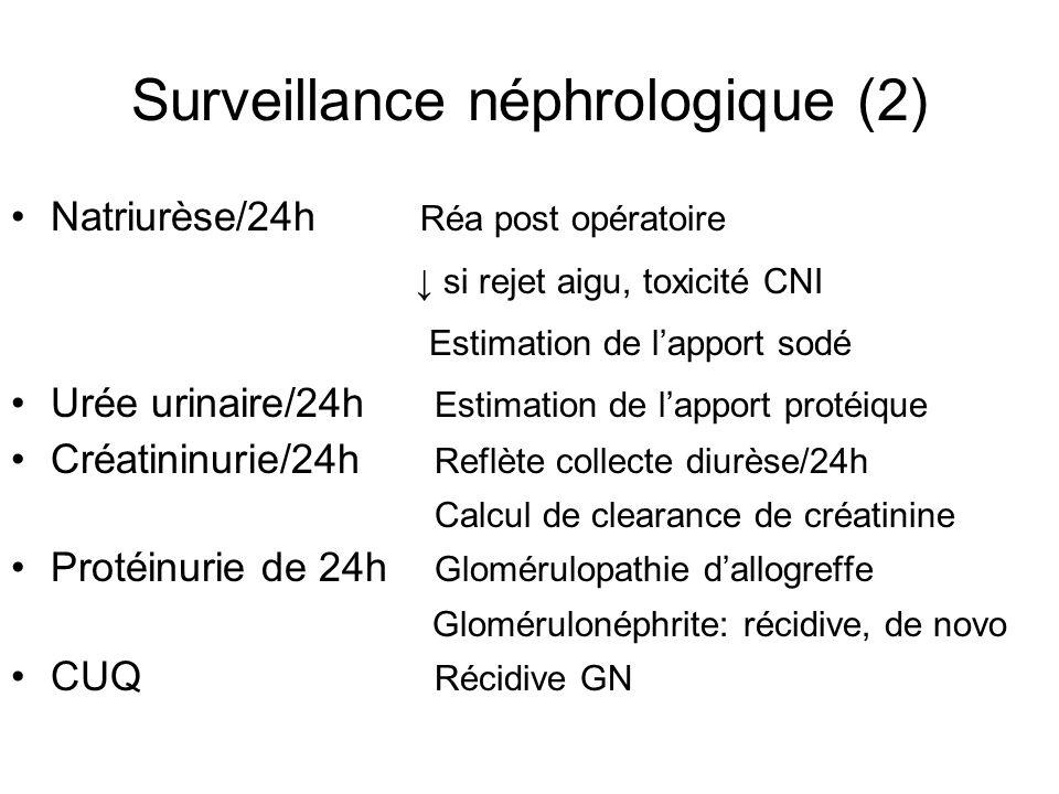 Surveillance néphrologique (2) Natriurèse/24h Réa post opératoire ↓ si rejet aigu, toxicité CNI Estimation de l'apport sodé Urée urinaire/24h Estimati