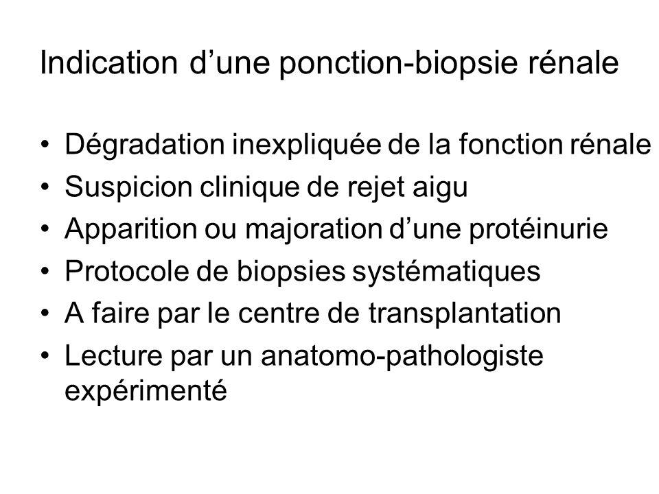 Indication d'une ponction-biopsie rénale Dégradation inexpliquée de la fonction rénale Suspicion clinique de rejet aigu Apparition ou majoration d'une