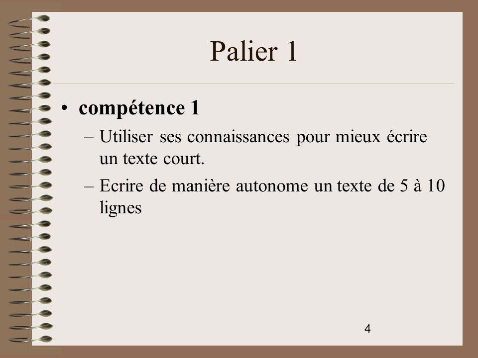 5 Palier 1 Compétence 4 L'élève est capable de commencer à s'approprier un environnement numérique.
