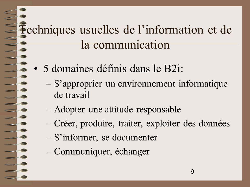 10 Techniques usuelles de l'information et de la communication Apprendre à maîtriser les fonctions de base d'un ordinateur: –Fonction des différents éléments –Utilisation de la souris –Utilisation du clavier –Utilisation du traitement de texte –Écrire un document numérique –Envoyer, recevoir des messages