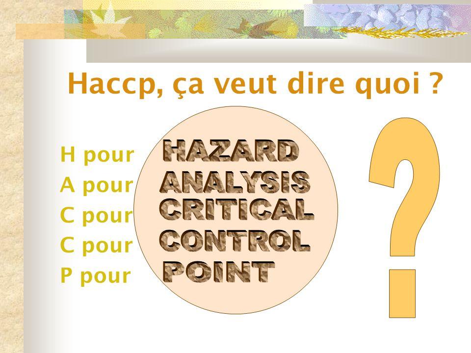 Haccp, ça veut dire quoi ? H pour A pour C pour P pour