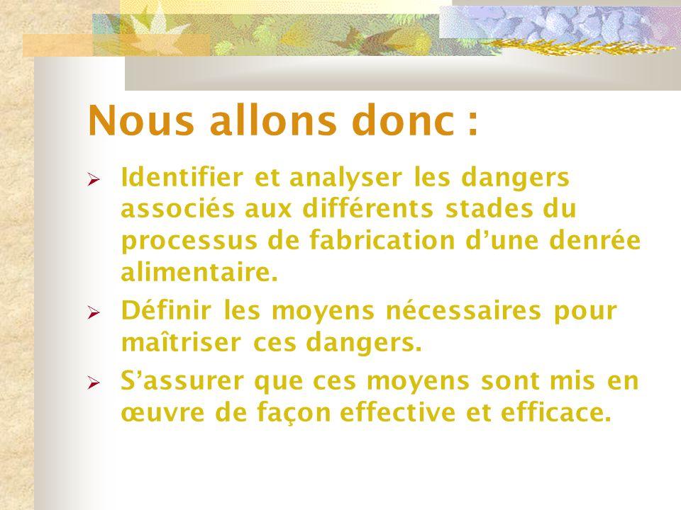 Nous allons donc :  Identifier et analyser les dangers associés aux différents stades du processus de fabrication d ' une denrée alimentaire.  Défin