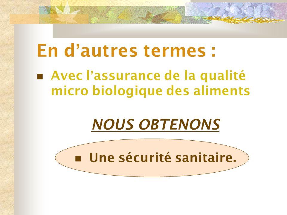 En d ' autres termes : Avec l ' assurance de la qualité micro biologique des aliments NOUS OBTENONS Une sécurité sanitaire.