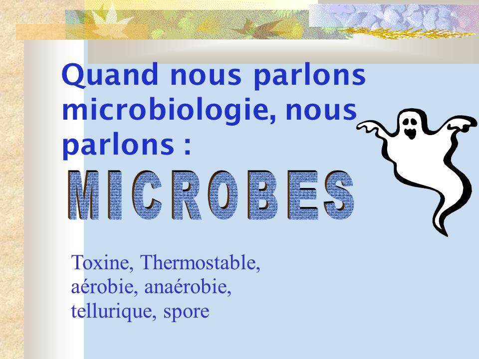 Quand nous parlons microbiologie, nous parlons : Toxine, Thermostable, aérobie, anaérobie, tellurique, spore