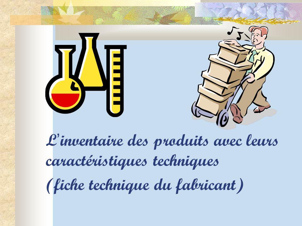 L ' inventaire des produits avec leurs caractéristiques techniques (fiche technique du fabricant)