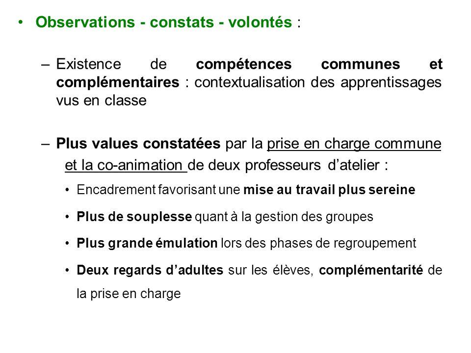 Observations - constats - volontés : –Existence de compétences communes et complémentaires : contextualisation des apprentissages vus en classe –Plus
