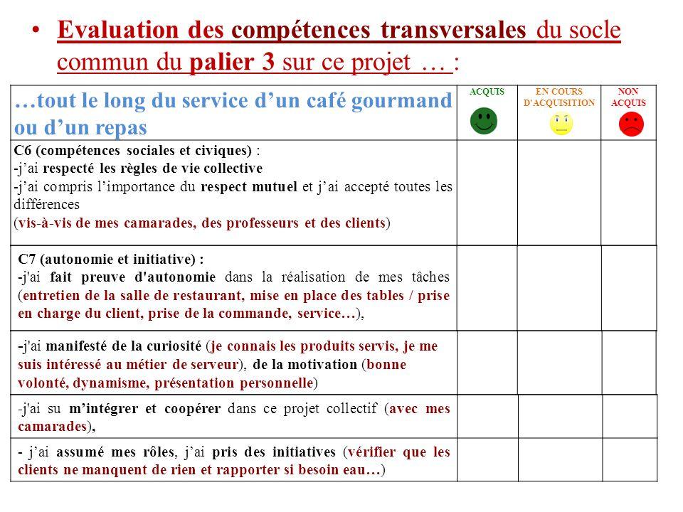 …tout le long du service d'un café gourmand ou d'un repas ACQUISEN COURS D'ACQUISITION NON ACQUIS C6 (compétences sociales et civiques) : -j'ai respec
