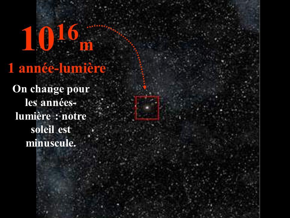 On change pour les années- lumière : notre soleil est minuscule. 10 16 m 1 année-lumière