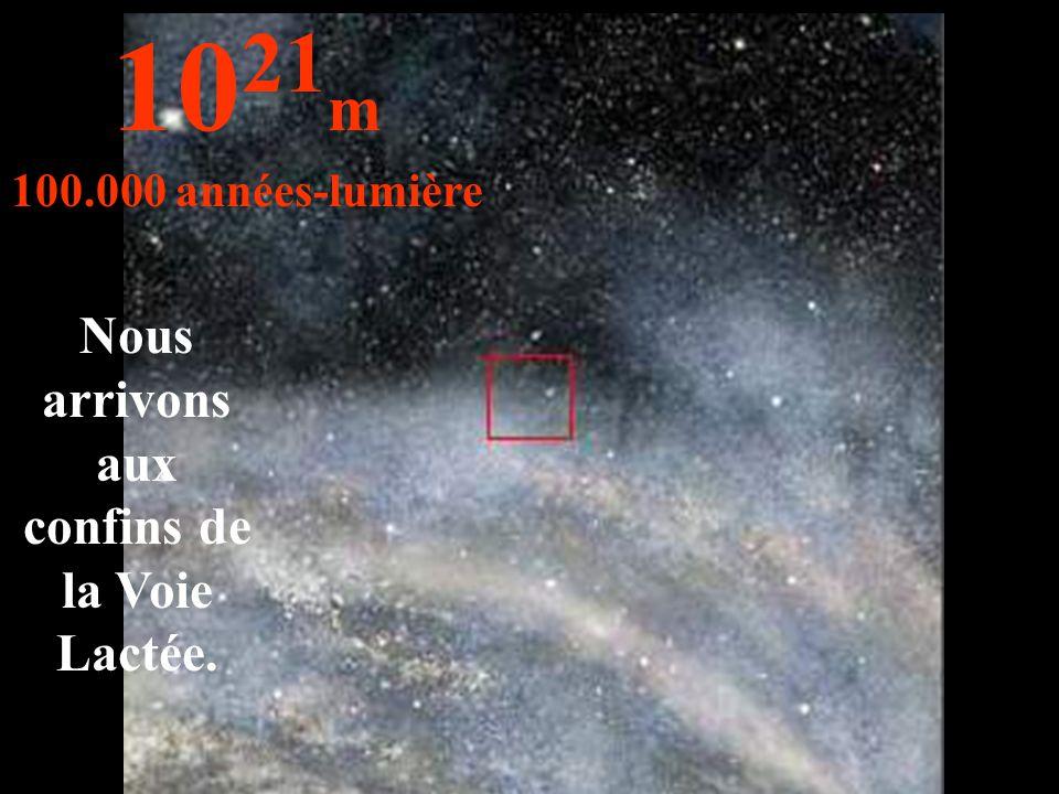 Nous arrivons aux confins de la Voie Lactée. 10 21 m 100.000 années-lumière