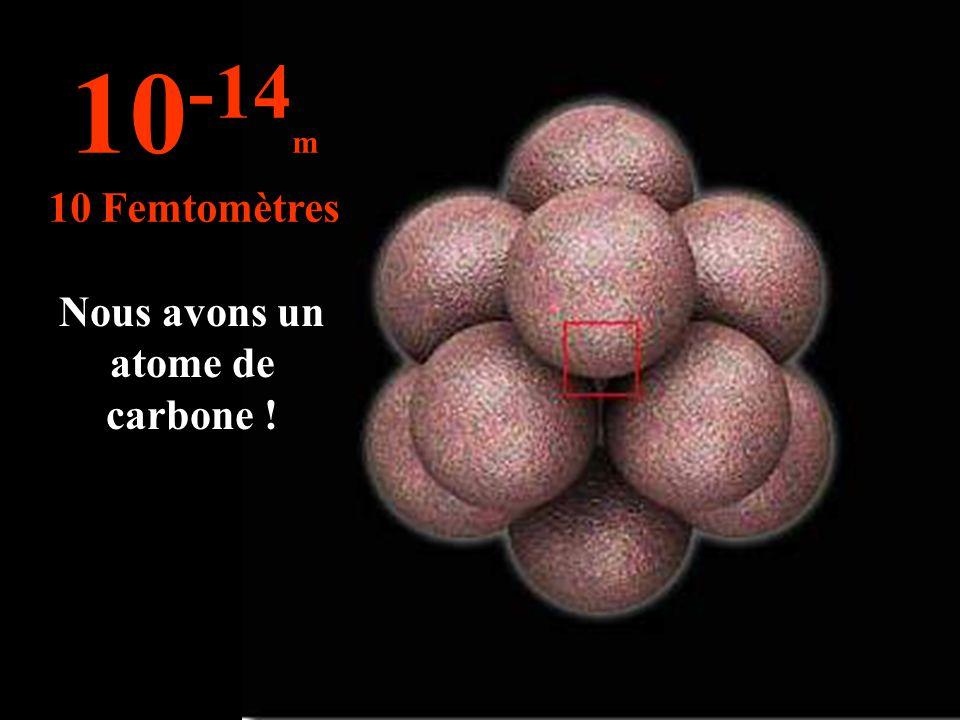 Nous avons un atome de carbone ! 10 -14 m 10 Femtomètres