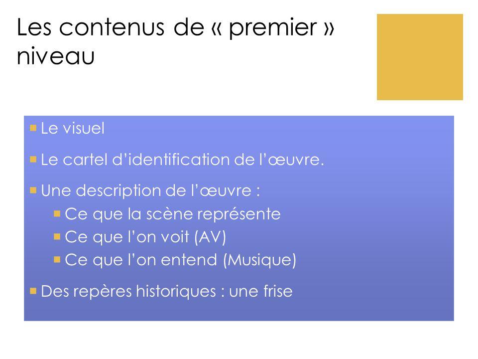 Les contenus de « premier » niveau  Le visuel  Le cartel d'identification de l'œuvre.