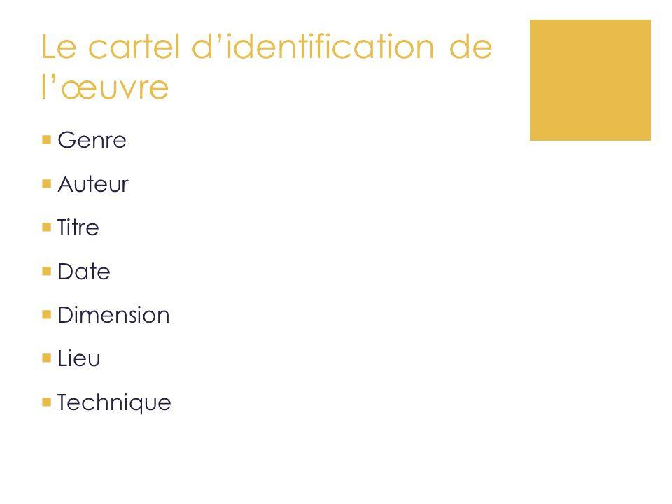 Cahier personnel d'histoire des arts 1.Le visuel 1.Le « cartel » d'identification de l'œuvre.