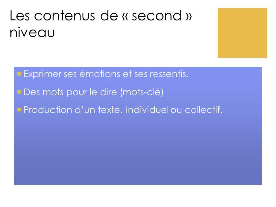 Les contenus de « second » niveau  Exprimer ses émotions et ses ressentis.